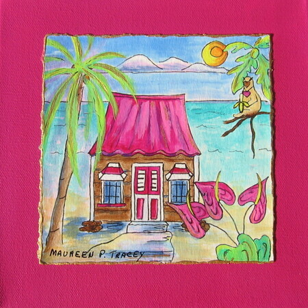 "Bajan Chattel House, 8""x 8""    Can.$150.00 incl. easel"