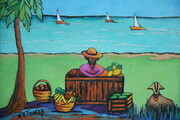 """Bajan Fruitseller with Lovesheep"", 8""x 10"" SOLD"