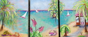 """Bajan Scenes Triptych: The Green Flash, Monkeyshnes, Life Is Good"", 12""x 27"", Acrylic on Canvas Can.$600.00"