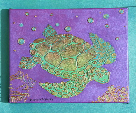 """Bajan Seaturtle"" 10""x 12"" Acrylic on Double Canvas, Available on Request"