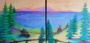 """Beautiful Day Outdoors"", Dyptych 12""x 24"", Acrlyic on Canvas"