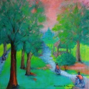 "'Westmount Park: Bike Ride in the Park', 20""x 20"", Acrylic on Canvas"