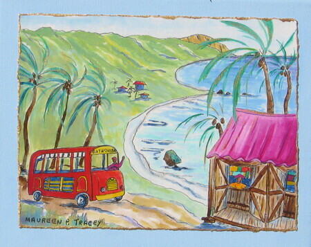 "Bus to Bathsheba, 8""x 10""    Can.$150.00 incl. easel"