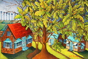 """Chattel Houses at Dusk',     18""x 24"", SOLD"