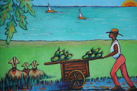 """Coconut Man with Lovesheep"",   8""x 10""   SOLD"
