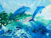 """Dolphins at Play"" 20""x 24"" Acrylic on Canvas with Resin    Can.$500.00"