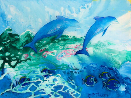 """Dolphins at Play"" 20""x 24"" Acrylic on Canvas with Resin"