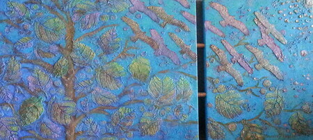 "Flight of Fancy, 18""x 39"" Diptych, Acrylic Mixed Media"