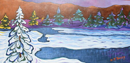 """Friends Out Skiing"", 15""x 30""  SOLD"