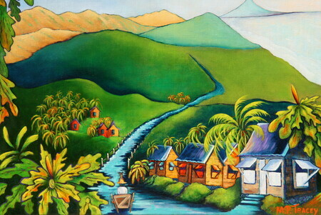 """Gall Hill, Bathsheba"", 11""x 14"", Artist's Collection, Shown on Map Cover, ""Barbados in a Nutshell 2014/15"""