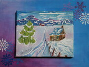 """House in the Laurentians"", 12""x 16"", Canvas Mounted on Board    Can.$150.00  SOLD"