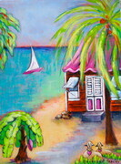 """Life Is Good"", 12""x 9"", Right Panel of 'Bajan Scenes Triptych, 12""x 27""', Acrylic on Canvas"