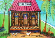 """Rumshop with Coconut Tree and Lovesheep"", 11""x 14""  Artist Collection"