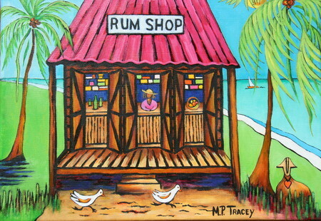 """Rumshop with Coconut Tree and Lovesheep"", 11""x 14"""