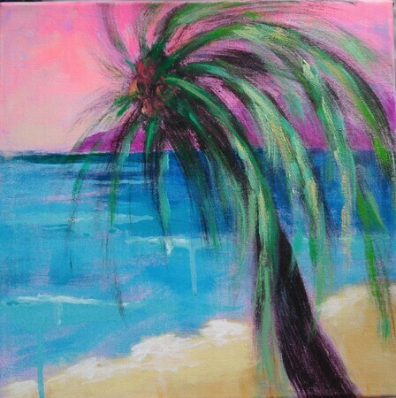 "Magical Palm Tree, 12""x 12"", Acrylic on Canvas"