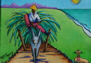 """Man on Donkey Cart with Lovesheep"", Shown on Front Cover of ""Barbados in a Nutshell 2014/15"" - SOLD"
