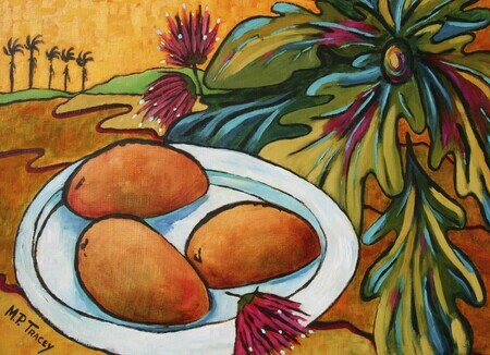 """Mangoes & Breadfruit Tree"", 16""x 20"""