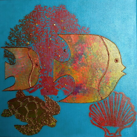 """More Magical Fish"",12""x 12"", Acrylic Mixed Media on Canvas, Other Colours Available on Request    Can.$150.00"