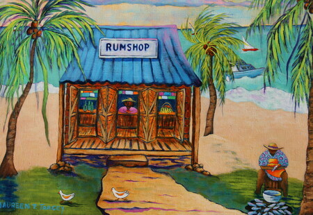 """Rumshop & Fishseller"", 18""x 24"", Acrylic on Canvas SOLD"