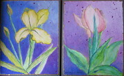 """Spring Flowers, Iris & Tulip""  Pair: 22""x 14"", Acrylic on Paper Mounted on Board"