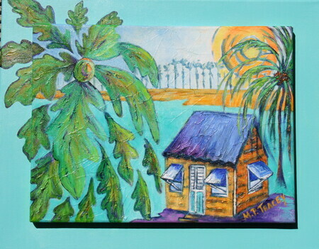 """Sunlit Breadfruit Tree"", 16""x 20"", Acrylic On Double Canvas  SOLD"