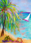"""The Green Flash, 12""x 9"", Left Panel of Bajan Scenes Triptych, 12""x 27"", Acrlyic on Canvas"