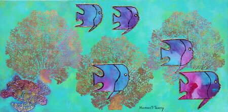 """Tropical Fish Fantasy"", 12""x 24"", Acrylic Mixed Media on Canvas  SOLD Other Colours Available"
