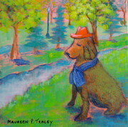 "'Westmount Park, The Magic of Summer, Canine Plant Sculpture', 10""x 10"", Acrylic on Canvas  SOLD"