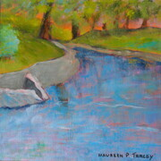 "'Westmount Park, The Magic of Summer, The Lagoon, Another Take', 10""x 10"", Acrylic on Canvas"