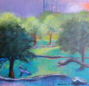 "'Wetmount Park, The Magic of Summer, What Better Place to Read', 20""x 20"" Acrylic on Canvas"